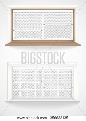 Vector Set Of Wooden And Plastic Windows In Realistic Style, Jalousie And Transparent Glass.