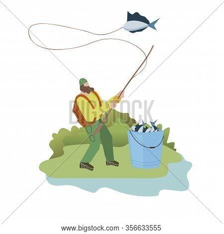 Lonely Fisher Weekend Flat Vector Illustration. Fish In Metal Bucket, On Fishing Rod. Fisherman Hobb
