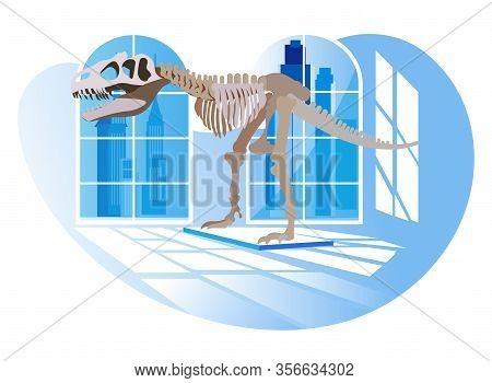 Exhibition Center. Vector Illustratio . Dinosaur In Background Window In Museum. Visit History Exhib
