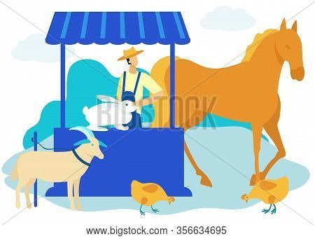 Man In Hat In Farmers Market Sells Cattle. Vector Illustration. People On Farm. Natural Farm Product