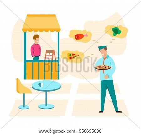 Man Making Food Order. Waiter Offering Pizza, Meal And Vegetables. Visitor And Restaurant Service. H