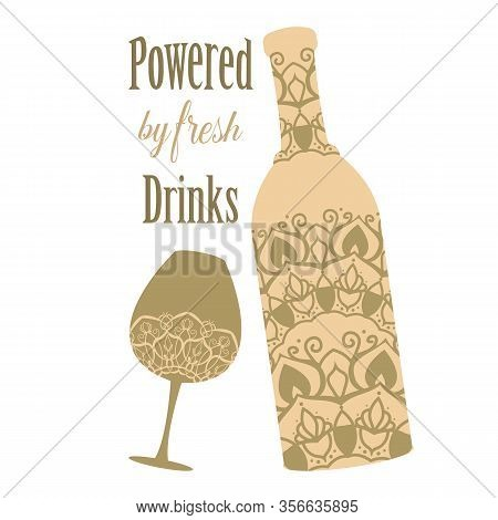 Mocca Colour Bottle And Glass With Angela And Alcohol. Vector