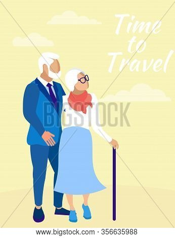 Mature Family Couple On Yellow Background. Time Travel. Insurance Policy. Vector Illustration. Relia