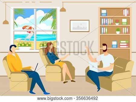 Office Interior. Business Meeting. Vector Illustration. Teamwork In Office. Woman Sitting In Chair.