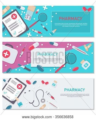 Set medical flat vector backgrounds, healthcare, first aid. International health care, insurance. Medicine and surgery. Vaccination, medical research program. Online health check, medical diagnosis, treatment. Medicine vector illustration. Pharmacy backgr