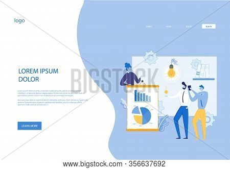 Successful Business Woman Making Presentation, Interview, Communicate With Journalists. People Carto