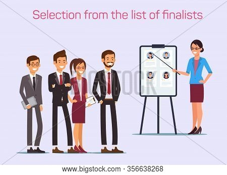 Selection List Finalists. Woman With Pointer And Smiling Staff. Search For Colleagues. Candidate For