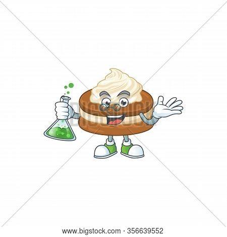 White Cream Alfajor Brainy Professor Cartoon Design Grasp A Glass Tube