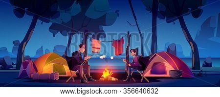 Summer Camp With Couple, Tent And Campfire At Night. Vector Cartoon Landscape Of Two People In Natur