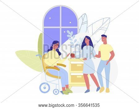 Young Woman In Wheel Chair, Receiving Callers. Boy And Girl, Visiting Their Disabled Friend, Treatin