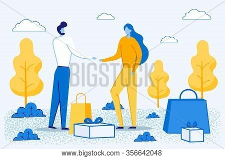 Happy People Shopping Recreation. Man And Woman Characters Buying Things And Presents For Holidays S