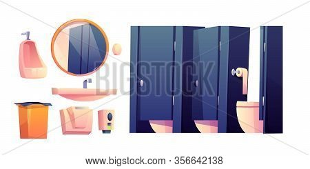 Public Toilet Interior Set. Toilet Bowls In Cubicles, Sink, Mirror, Urinal And Trash Bin For Restroo