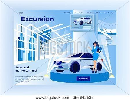 Luxury Car Presentation On Expo With Beautiful Woman Motor Show Presenter Model, Fashionable Slim Lo