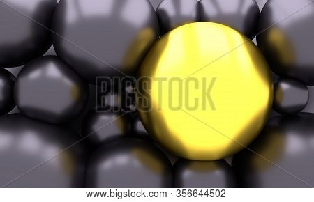 Group Of Orbs Or Spheres. Outstanding Or Leadership Concept. 3d Rendering