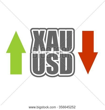 Financial Market Trading Concept. Currency Pair. Acronym Xau - Gold Metal. Acronym Usd - United Stat