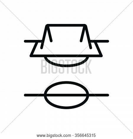 Black Line Icon For Field Steppe Champaign Football Soccer Sport Pitch Game Stadium