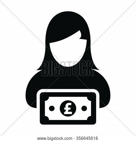 Currency Icon Vector Female User Person Profile Avatar With Pound Money Symbol For Banking And Finan