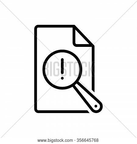 Black Line Icon For Vulnerable Report Risk Analysis Research Check Review Document Antivirus