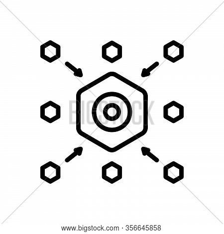Black Line Icon For Central Pivotal  Focal Centralized Blockchain Cryptography Centralized Connectio