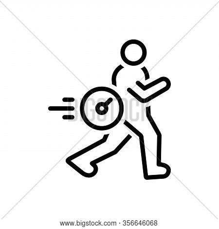 Black Line Icon For High Speedometer Run Expedite Hasty Hurried Speedy Rapid Brisk Immediately Insta