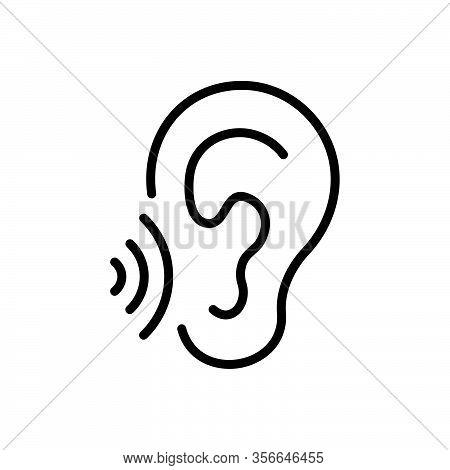 Black Line Icon For Whisper Murmur Mutter Mumble Speak-softly Buzz Secret Listen Ear