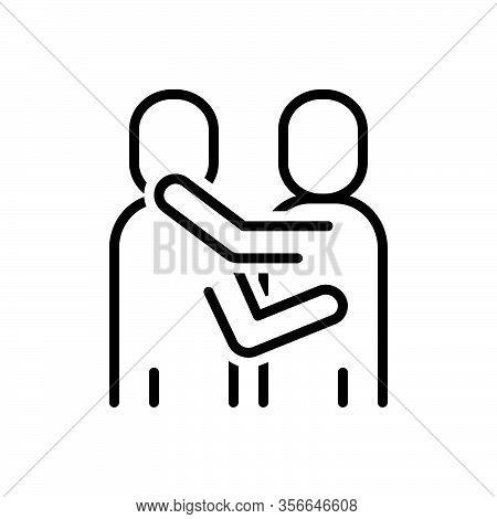 Black Line Icon For Embrace Hug Cuddle Squeeze Caress Bear-hug Clutch Encircle Cradle