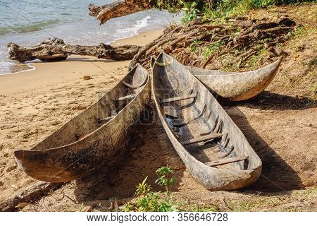 Abandoned Traditional Aboriginal Malagasy Wooden Hand Made Fisherman Dugout. Masoala, Madagascar