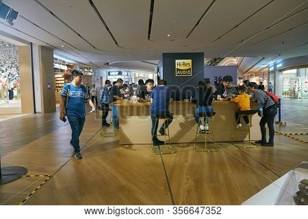 SHENZHEN, CHINA - APRIL 20, 2019: Hi-Res audio stand at Sony Expo 2019 in Shenzhen, China.