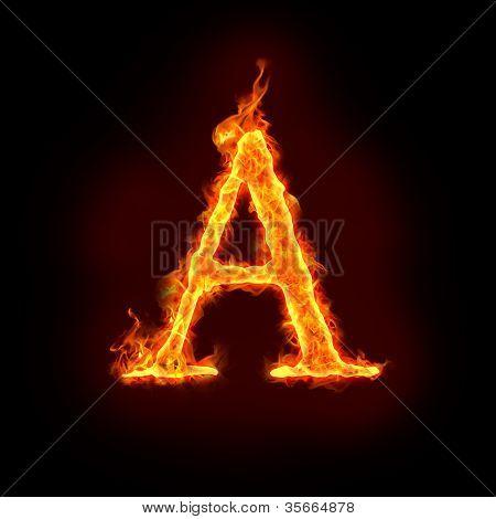 Fire Alphabets, capital letter A