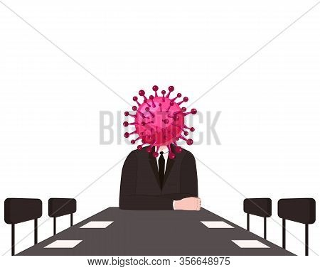 Virus Character, Human Body Head Virus, Leads A Meeting At The Table. Microbe, Pathogen, Coronavirus