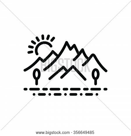 Black Line Icon For Hill Countryside Environment Nature Highlander Mound Meadow Landscape Peak Fores