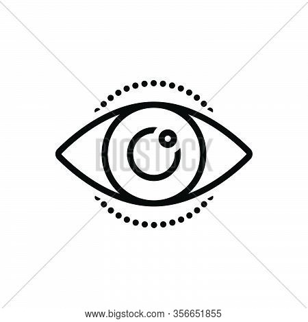 Black Line Icon For See View Look Perceive Sight Optical Eyesight Lens