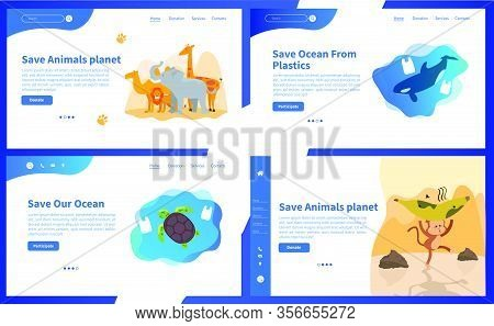 Web Page Design Templates Collection Of Save Planet Or Go Green Themes. Modern Vector Illustration C