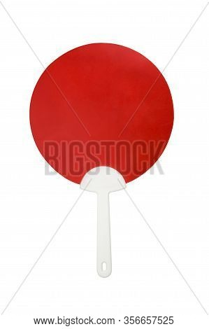 Hand Held Plastic Fan Isolated On White Background White Clipping Path