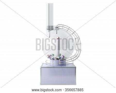 Lottery Machine With Lottery Balls Inside Lotto Bingo Game Luck Concept 3d Illustration On White No