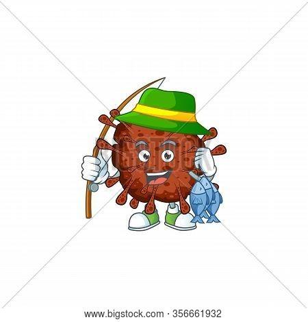 Cartoon Character Of Funny Fishing Infection Coronavirus