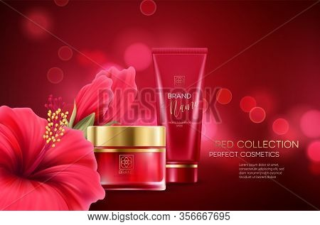 Cosmetics Products With Luxury Collection Composition On Red Blurred Bokeh Background With Hibiscus