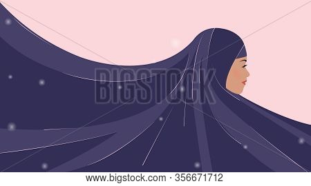 Beautiful Young Arabic Woman In Hijab. Purple Clothes Create Background For Your Text. Template For