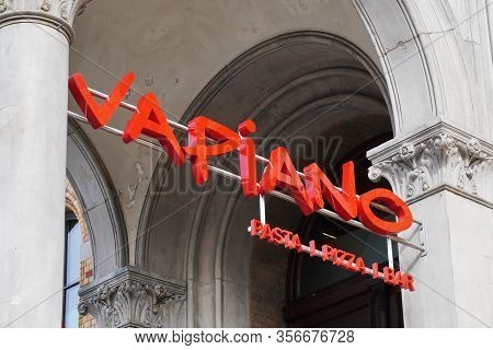 Hannover, Germany - March 2, 2020: Vapiano Logo Sign At Local Branch Of German Franchise Restaurant