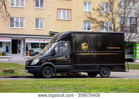 Ostrava, Czech Republic - February 26, 2020: Dark Brown Mercedes-benz Sprinter Van Of Ups Company On