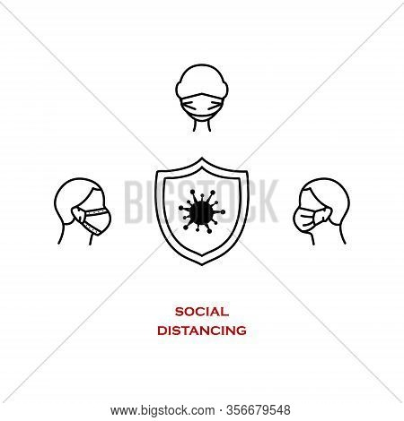 Сovid-19 Safety And Security Symbol. Social Distance For Prevention Of Spreading The Infection. Vect