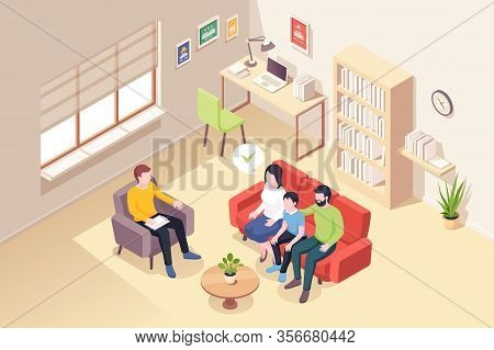 Family At Psychologist Counseling, Isometric Illustration Of People At Psychologist Counselor Couch.