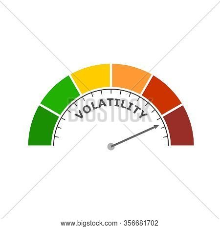 Level Scale With Arrow. The Volatility Measuring Device Icon. Sign Tachometer, Speedometer, Indicato