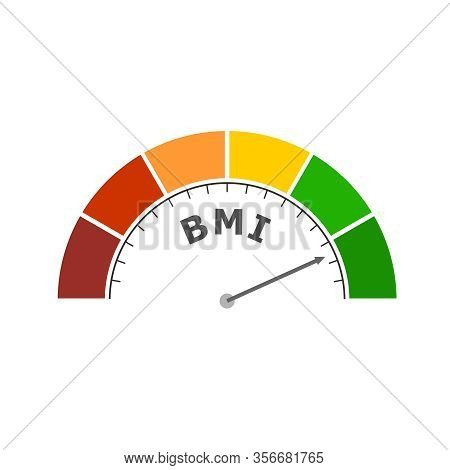 Body Mass Index Meter Read Level Result. Color Scale With Arrow From Red To Green. The Measuring Dev