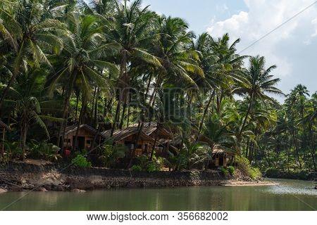 Huts At The Backwaters At Kola Beach In Goa, India