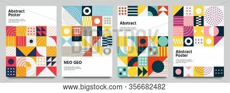 Color Neo Geo Poster. Modern Grid Flyer With Geometric Shapes, Geometry Graphics And Abstract Backgr