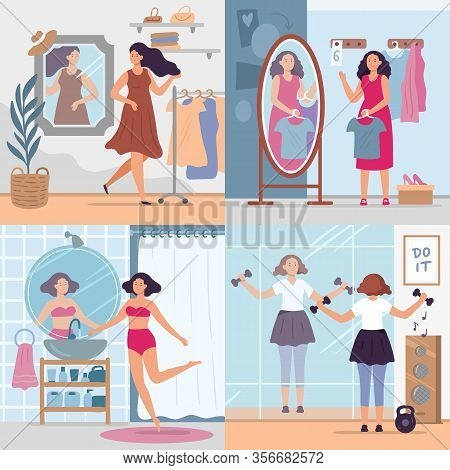 Girl Looking In Mirror. Women In Stylish Dressing Room, Bathroom And Gym Look In Mirrors. Happy Refl