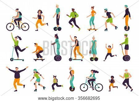 Active People. Healthy Lifestyle, Outdoor Activities, Running And Jogging. Bike Riding, Skateboardin