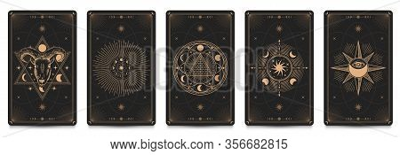 Mystic Frame Card. Vector Illustration Set. Divination And Prediction Cards With Emblem Mysterious,