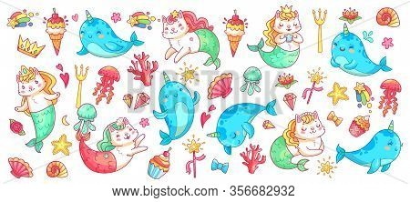 Unicorn Narwhal And Mermaid Cat. Vector Illustration Set. Magic Fantasy Animal, Mythological Mermaid